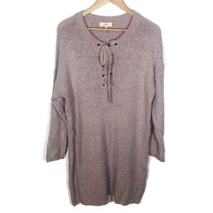 Entro Lavender Lace Up Sweater Tunic